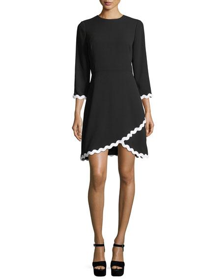 Shoshanna Sutter 3/4 Sleeves Faux-Wrap Scalloped Dress