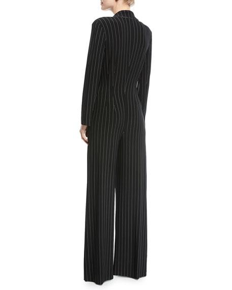 Tuxedo V-Neck Pinstripe Jumpsuit