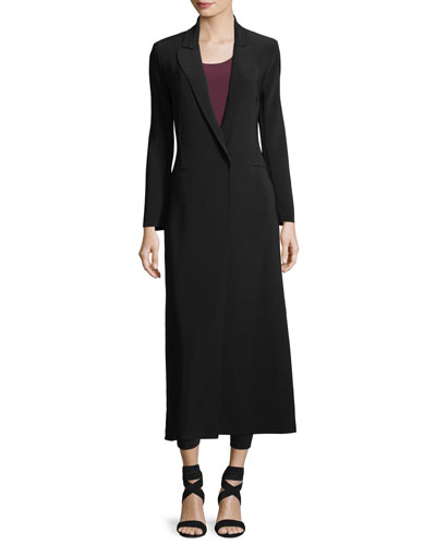 Single-Button Notched-Collar Long Coat