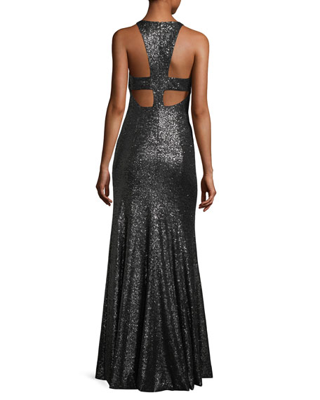 Jemma V-Neck Sequin Column Evening Gown