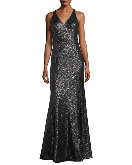 JAY X JAYGODFREY Jemma V-Neck Sequin Column Evening