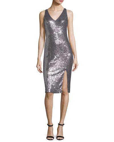 Scarlet V-Neck Sleeveless Sequin Cocktail Dress