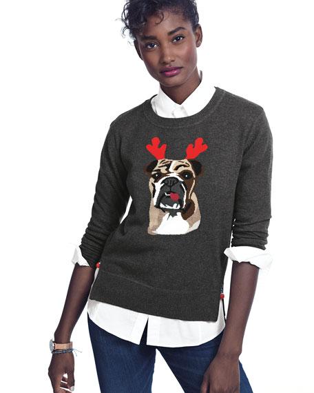 Holiday Bulldog Cashmere Sweater, Plus Size