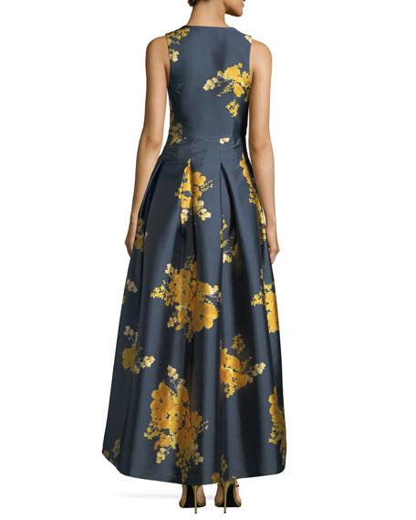 Kareen Deep-V Sleeveless Floral-Print Satin Evening Gown