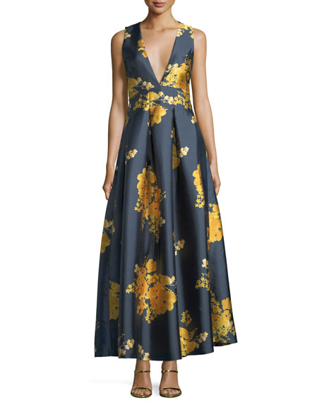 Kareen Deep-V Sleeveless Floral-Print Satin Evening Gown