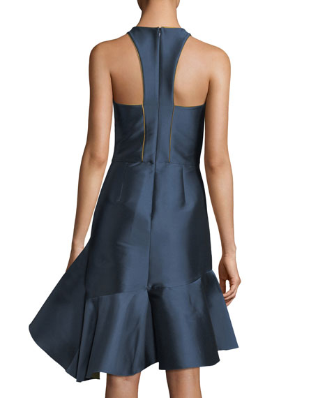 Nija Sleeveless Fitted Satin Cocktail Dress w/ Asymmetric Ruffled Skirt