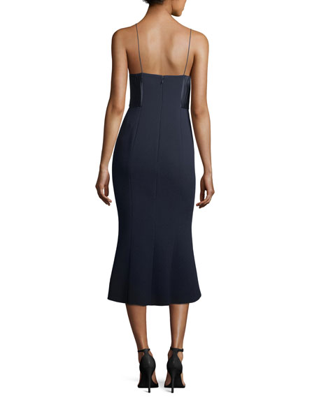 Ricci Fit-and-Flare Sleeveless Cocktail Dress w/ Lace