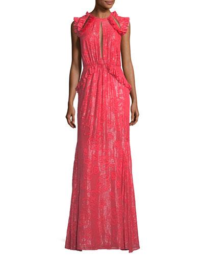 Basilia High-Neck Devoré Metallic Evening Gown