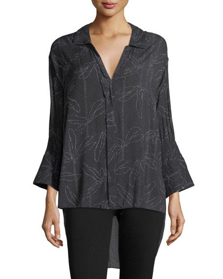 Halston Heritage Floral-Print Smocked-Sleeve Shirt
