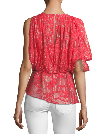 Basilia Draped High-Neck Metallic Devoré Top