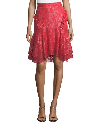 Basilia Devoré Metallic Layered Skirt