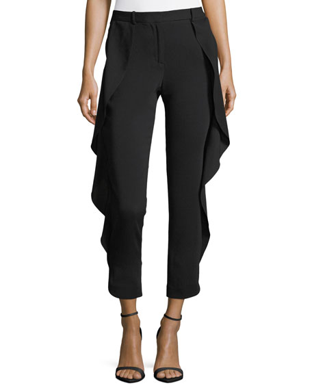 Ruffle-Detail Tapered-Leg Pants
