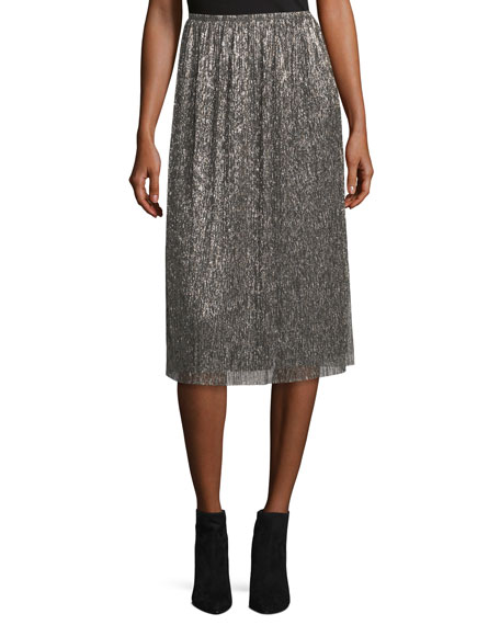 Halston Heritage Metallic Jersey Midi Skirt