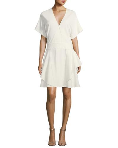 Short-Sleeve Drop-Waist Ponté Dress
