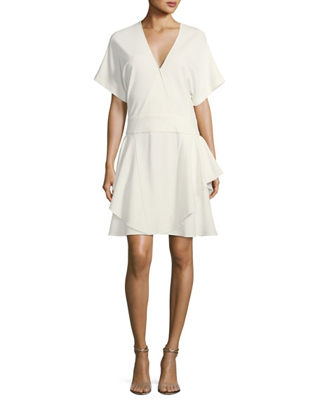 Halston Heritage Short-Sleeve Drop-Waist Ponté Dress