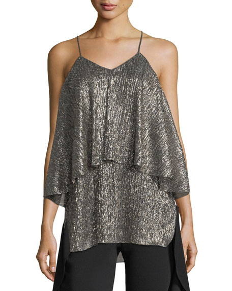 Halston Heritage Metallic-Jersey Flounced Sleeveless Top