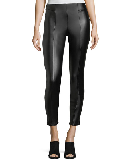 Front-Seamed Faux-Leather Leggings