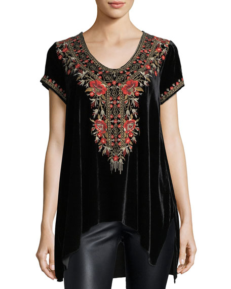 Johnny Was Eleanor Velvet Embroidered Top