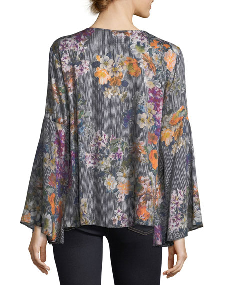 Lace-Up Drama-Sleeve Printed Blouse
