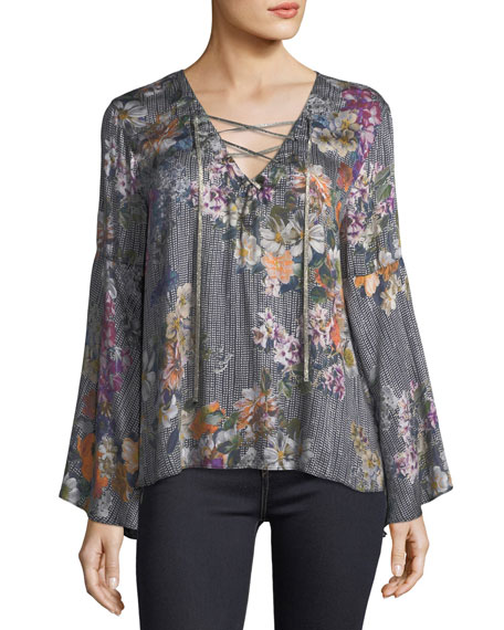 Johnny Was Lace-Up Drama-Sleeve Printed Blouse
