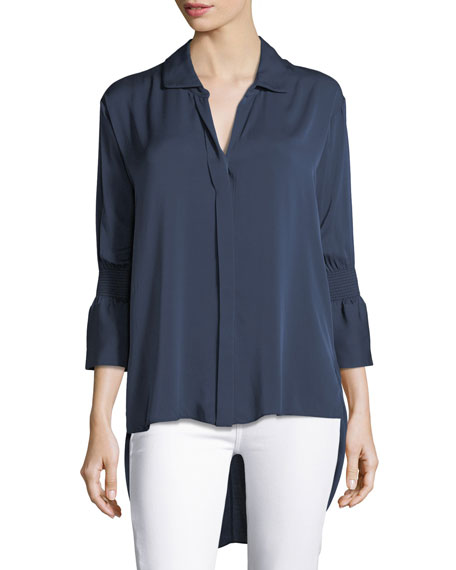 Smocked-Sleeve Georgette Shirt