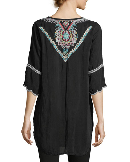 Brazillia Embroidered Long Tunic, Plus Size