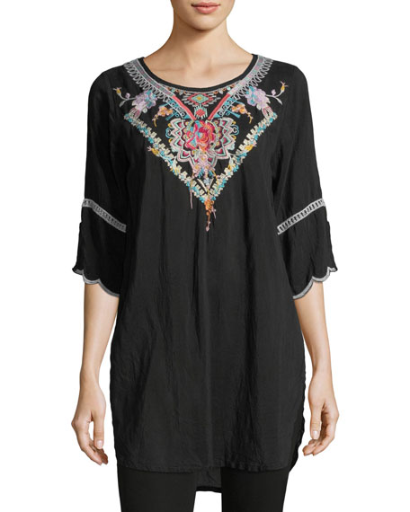 Johnny Was Brazillia Embroidered Long Tunic, Plus Size