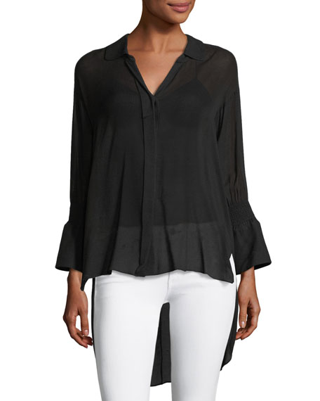Halston Heritage Long Smocked-Sleeve Shirt