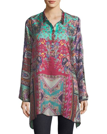 Johnny Was Meco Printed Silk Twill Tunic, Plus