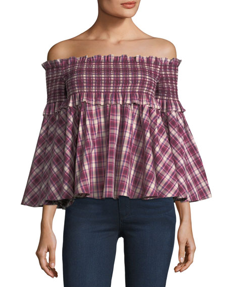 Petersyn Davenport Off-the-Shoulder Smocked Plaid Top