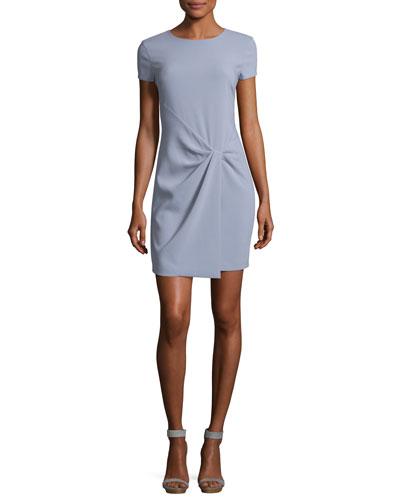 Short-Sleeve Wrap-Drape Dress