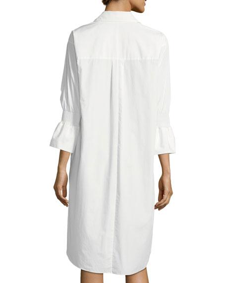 Smocked-Sleeve Shirtdress W/ Overlay Detail
