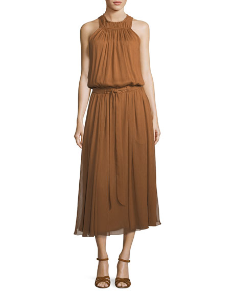 Halston Heritage High-Neck Ruched Midi Dress