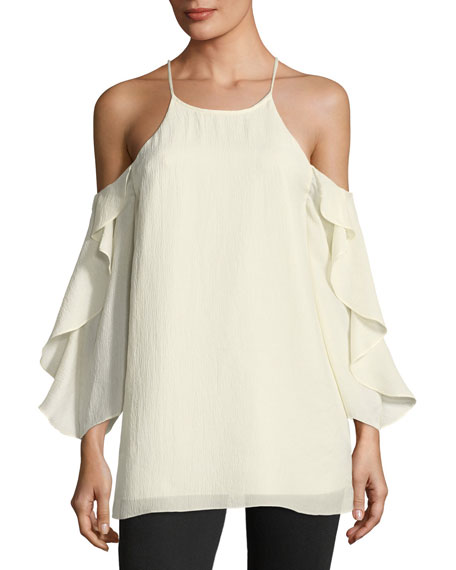 Halston Heritage Flutter-Sleeve Cold-Shoulder Top