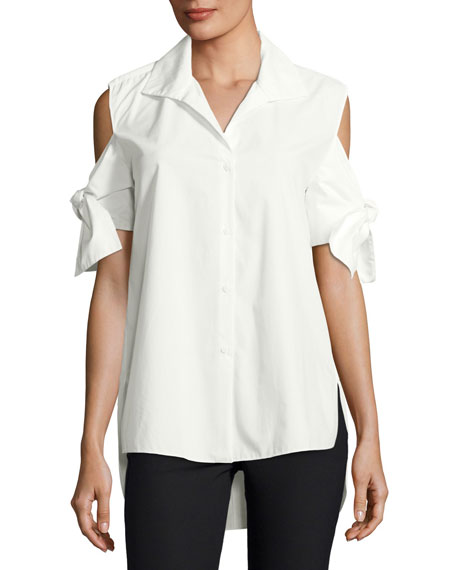 Halston Heritage Tie-Sleeve Long Cotton Shirt