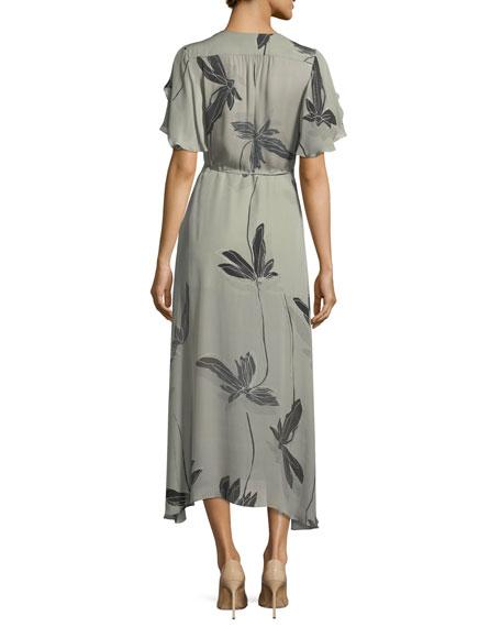 Flutter-Sleeve Printed Silk Faux-Wrap Dress