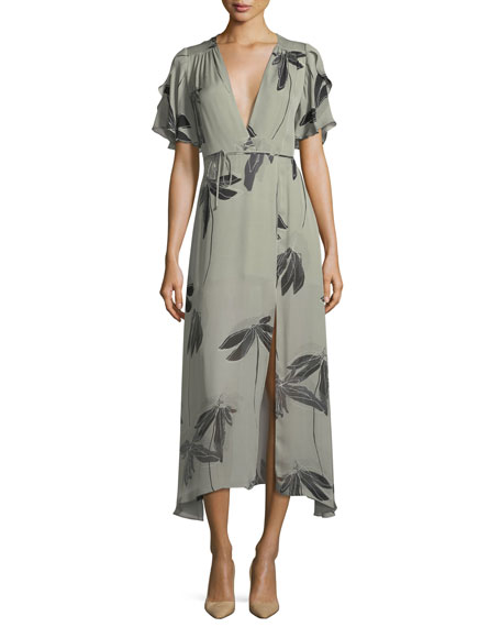Halston Heritage Flutter-Sleeve Printed Silk Faux-Wrap Dress