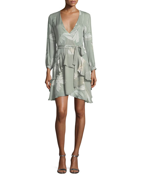 Halston Heritage Long-Sleeve V-Neck Printed Silk Flounce Dress