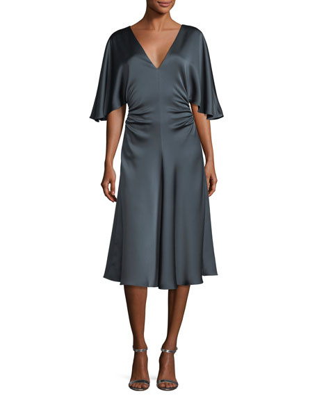 Halston Heritage Flowy-Sleeve Satin Cocktail Dress