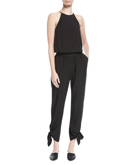 Halter-Neck Tapered-Leg Jumpsuit