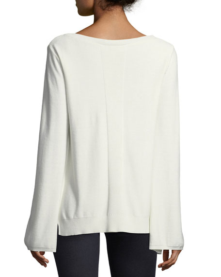 Split-Cuff Sweater with Georgette Insets