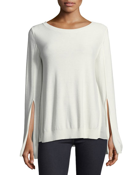 Halston Heritage Split-Cuff Sweater with Georgette Insets