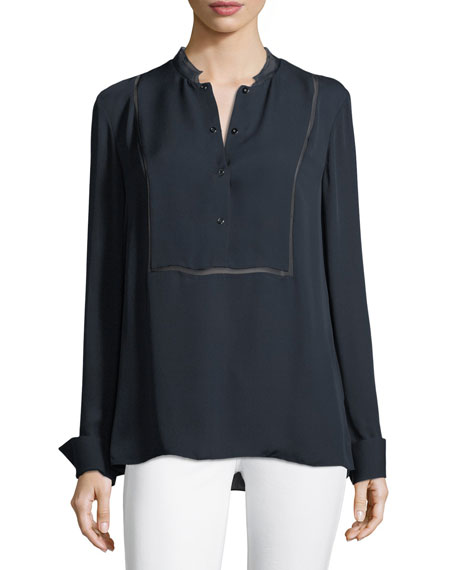 Elie Tahari Temptra Silk Button-Placket Blouse