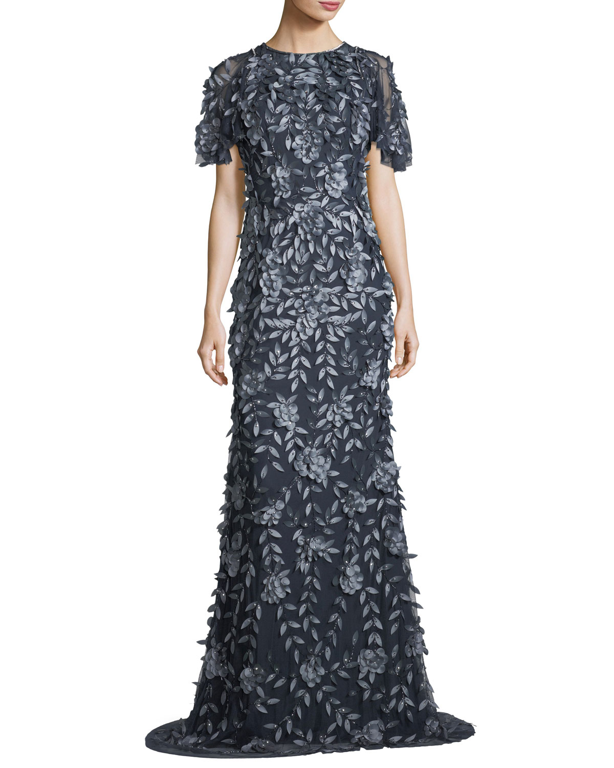 Theia Short-Sleeve Satin Column Evening Gown | Neiman Marcus