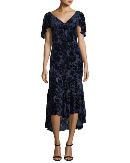 Velvet Devore V-Neck Cape-Sleeve Cocktail Dress