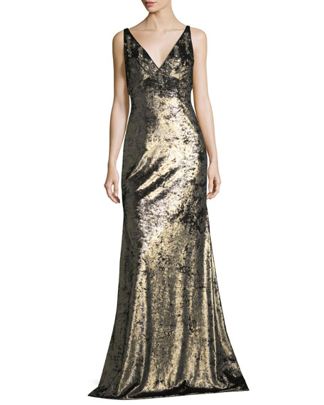 Sleeveless Wide V-Neck Metallic Evening Gown w/ Embellishments