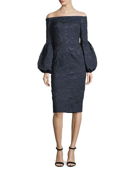 Theia Off-the-Shoulder Jacquard Sheath Cocktail Dress