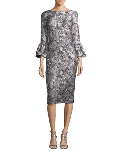 Metallic Jacquard Trumpet-Sleeve Cocktail Dress