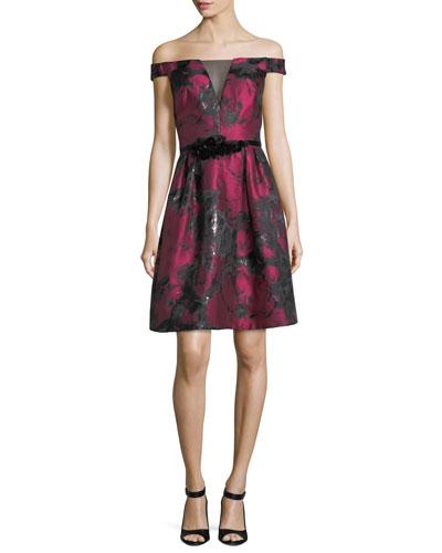 Off-the-Shoulder Metallic Jacquard Cocktail Dress