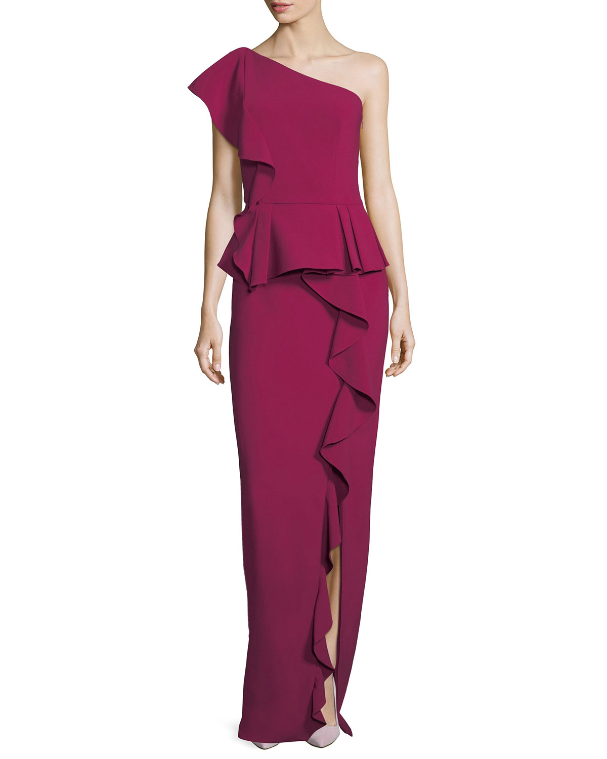 Theia One-Shoulder Ruffled Column Evening Gown | Neiman Marcus